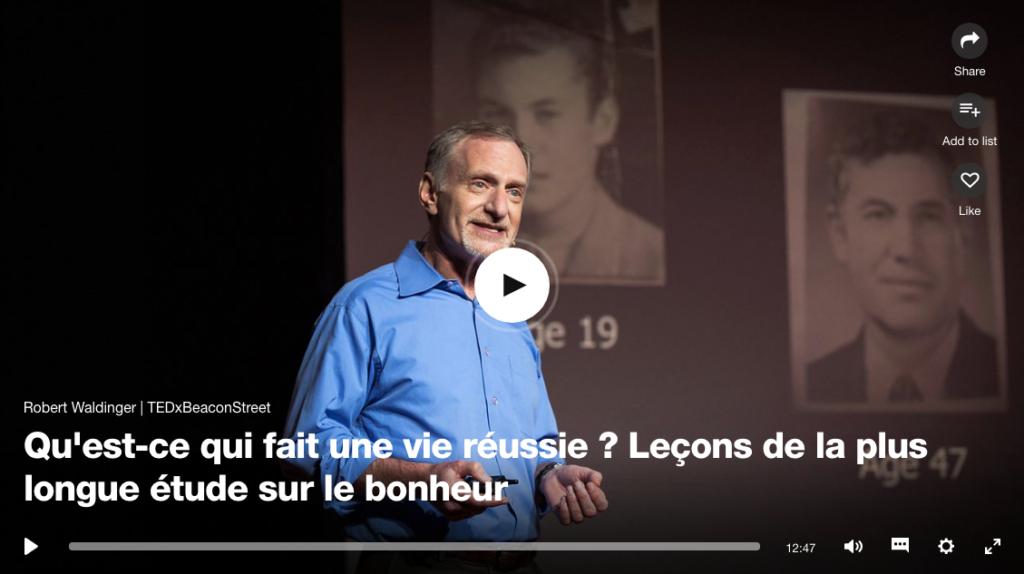 """Image de couverture de la vidéo du Professeur Robert Waldinger, cité dans notre article :""""La réparation""""."""