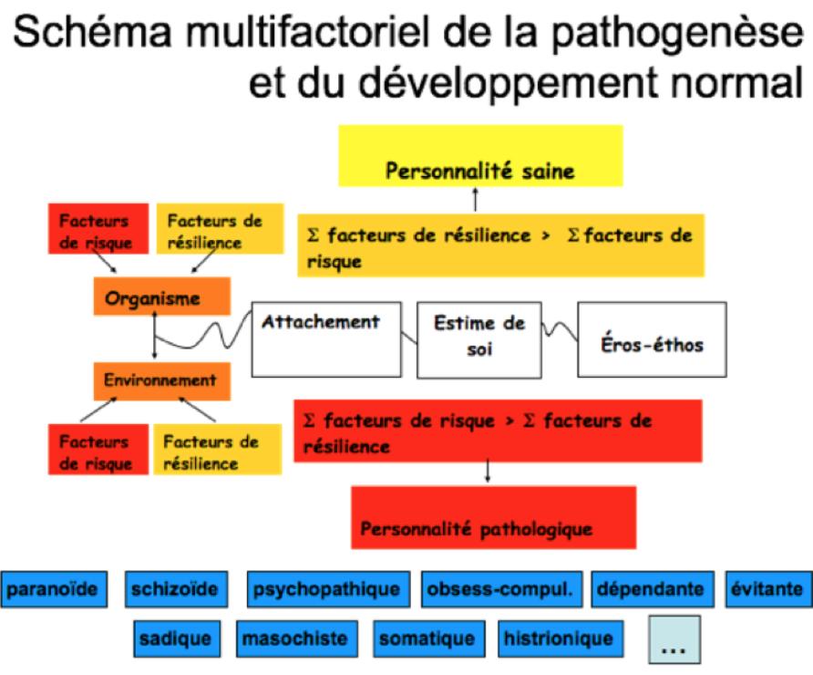 """Image du schéma """"multifactoriel de la pathogenèse et du développement normal"""", créé par G. Delisle, du CIG de Montréal. Image figurant sur l'article """"Le développement psycho-affectif"""""""