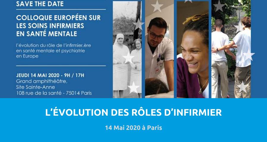 image de couverture de l'article concernant le Colloque : « L'évolution des rôles des infirmer(ères) en santé mentale et en psychiatrie ». Le 14 Mai 2020 à Paris (Hôpital Ste Anne).