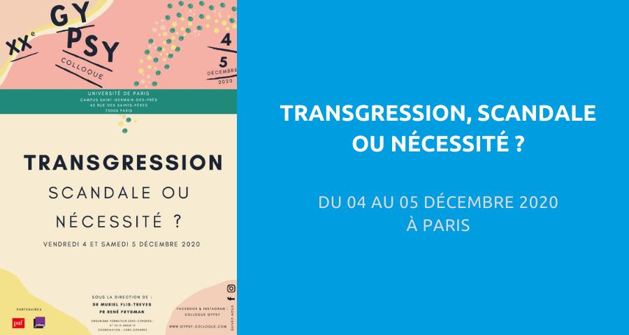 image de couverture de l'article concernant le 20eColloque Gynécologie & Psychanalyse (GYPSY) :«transgression, scandale ou nécessité». Du 04 au 05 Décembre 2020 à Paris.