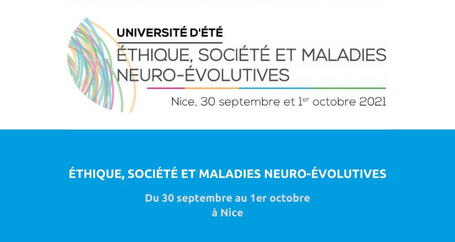 image de couverture de l'article concernant la 10e Université d'été éthique, société et maladies neuro-évolutives2021. Du 30 septembre au 1er octobre 2021 à Nice.