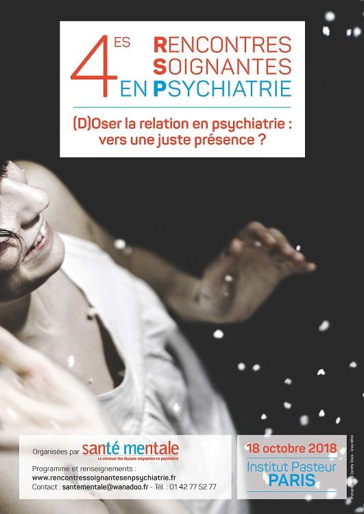 """affiche de couverture de l'article : """"(d)oser la présence en psychiatrie"""", événement psychologie à paris le 18 octobre 2018, organisé par la revue """"santé mentale"""""""