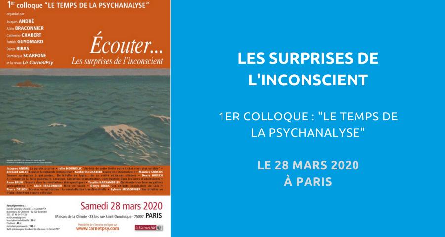 """image de couverture de l'article concernant le 1erColloque """"Le temps de la psychanalyse"""" : écouter… les surprises de l'inconscient. L'événement aura lieu à la Maison de la Chimie de Paris, le 28 mars 2020."""